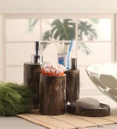 Shresmo Brown Polyresin Recto Bathroom - Set of 4 ...
