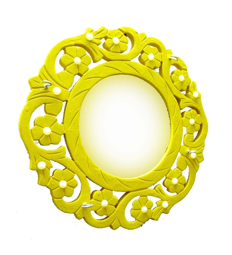 Yellow Wooden Beautifully Carved Mirror Cum Key Hanger by Shah Kreations