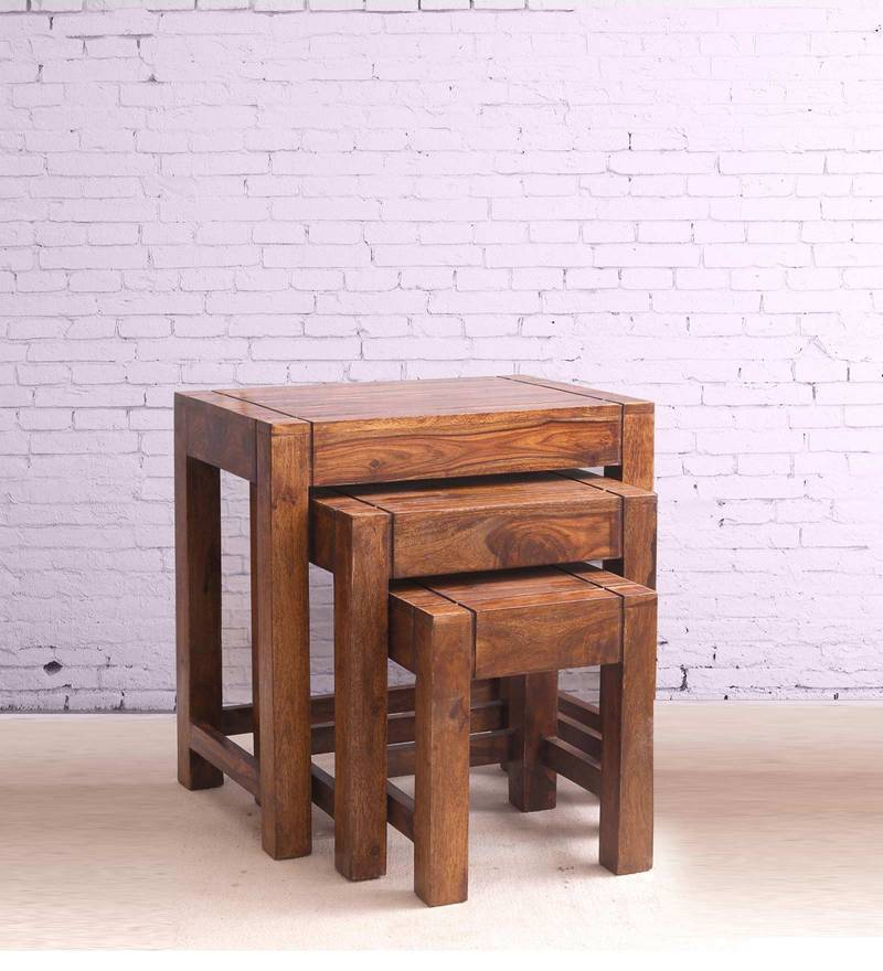 Sheesham Wood Nesting Tables (Set of 3) in Walnut Finish by VarEesha