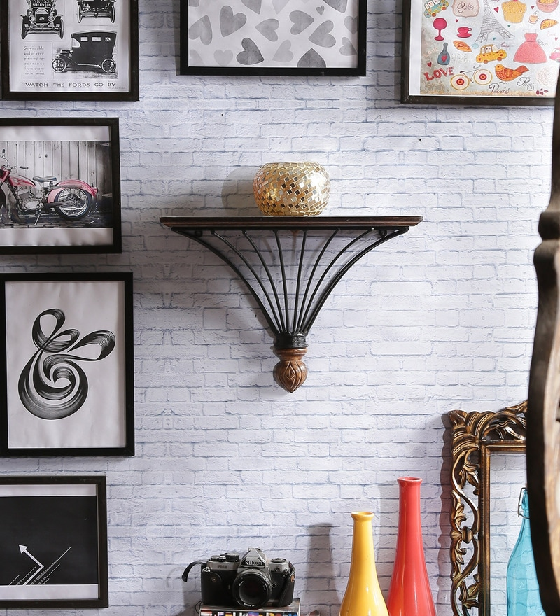Lyde Colonial Wall Shelf in Brown by Dream Arts