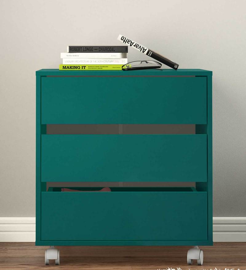 Shin Storage Unit with Three Drawers & Swivel Castors in Turquoise Colour by Mintwud