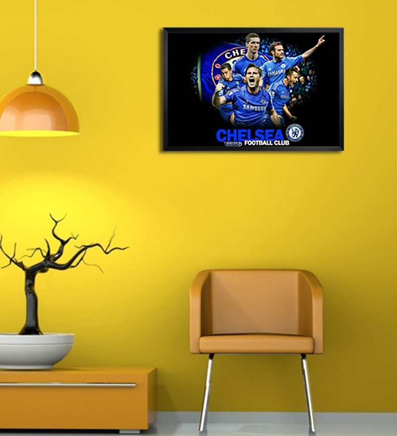 Wooden 19 x 1 x 13 Inch Chelsea Football Club Framed Poster by Shop Mantra