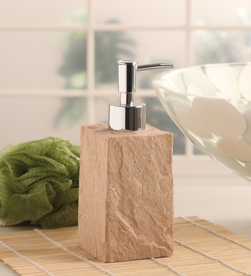 Shresmo Beige Polyresin Cube Soap Dispenser