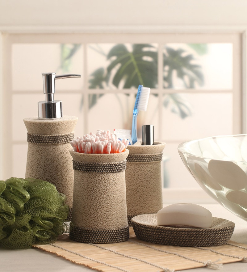 Shresmo Grey Polyresin Cube 4-piece Bathroom Accessory Set