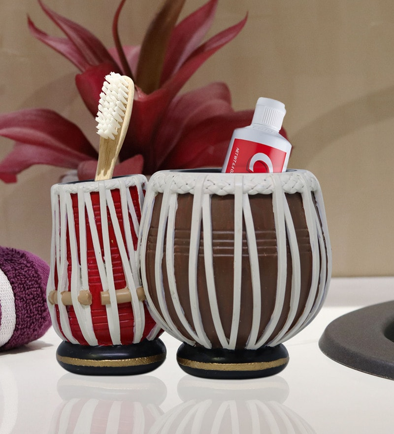 Shresmo Red & Brown Polyresin Toothbrush Holder