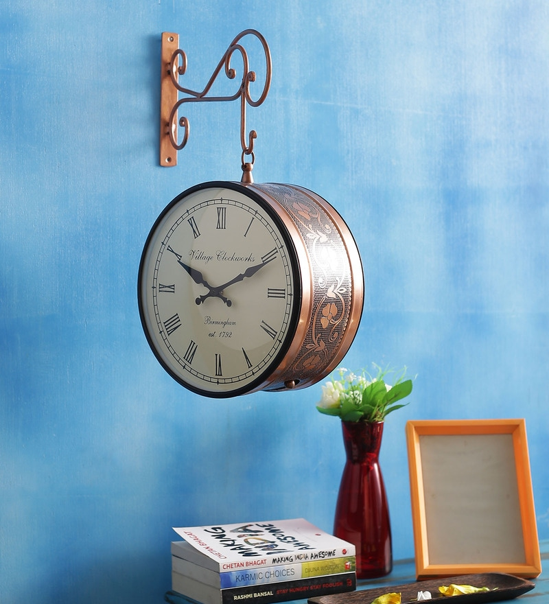 Gold Iron Ethnic Station Wall Clock by ShriNath