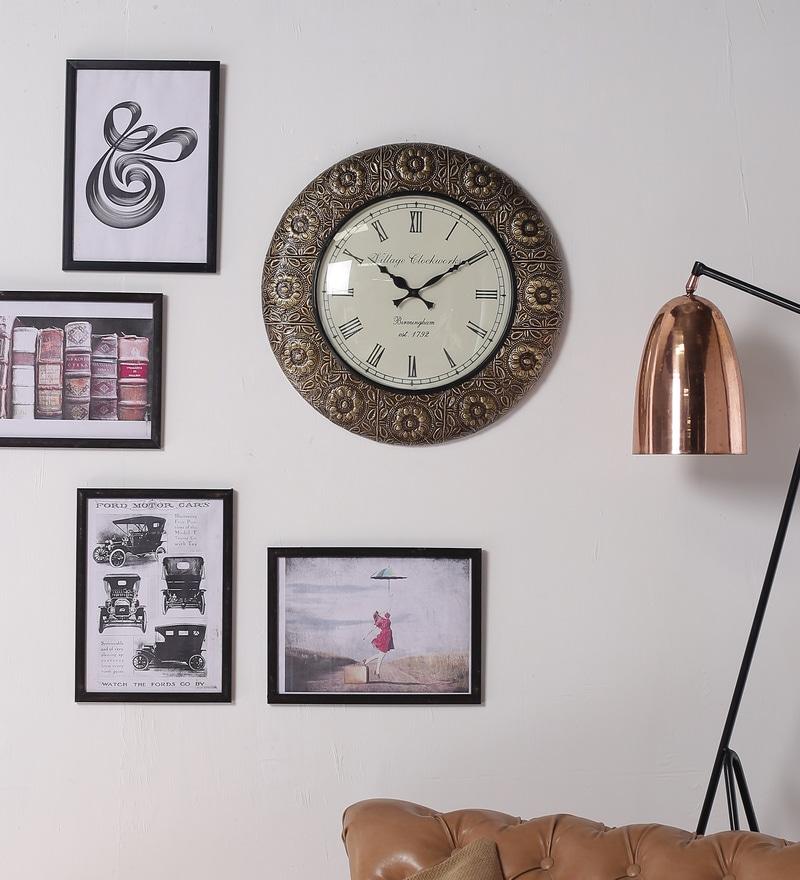 Shrinath Gold Glass & MDF 11.5 Inch Round Shop Large Round Handicraft Wall Clock