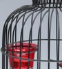 Shaz Living Black & Red Mild Steel & Glass Cage Candle Holder