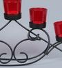 Shaz Living Black & Red Mild Steel & Glass Helena Tea Light Holder