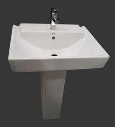 Sifon Loral White Ceramic Pedestal Wash Basin