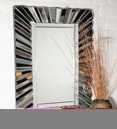 Silver Glass & MDF Prisma Wall Mirror By Venetian Design