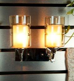 Silver Glass & Metal Wall Light