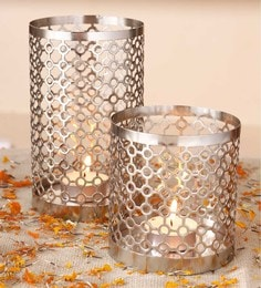 Silver Metal Decorative Tealight Candle Holder