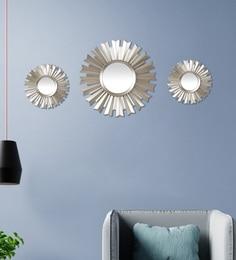 Silver Plastic Decorative Sun Shape Wall Mirror - Set Of 3