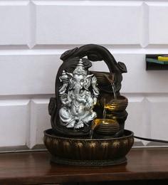Silver Polyresin Ganesha Wealth Water Fountain