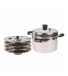 Silver Stainless Steel 4 Plate Idli Cooker (Free 4 Bowls-2 Chatni & 2 Sambhar)