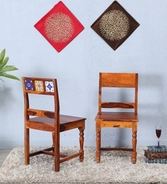 Siramika Dining Chair (Set Of Two )in Honey Oak Finish