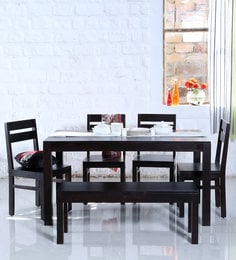 Enkel Six Seater Dining Set With Bench In Warm Chestnut Finish