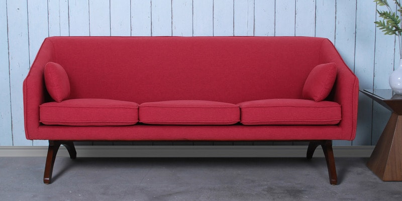 Silvia Three Seater Sofa in Red Colour by CasaCraft