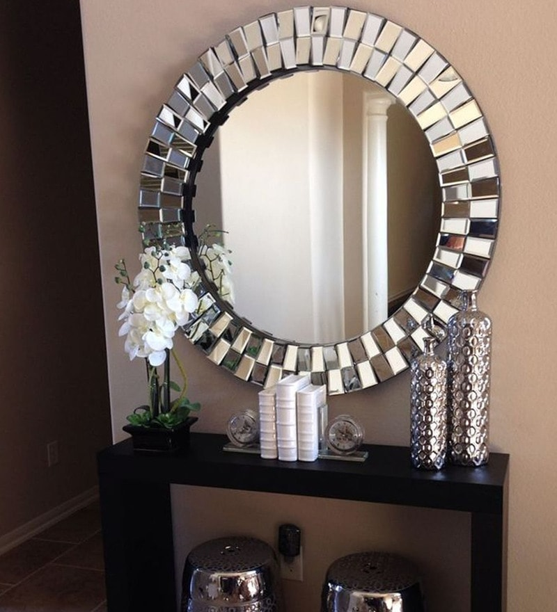 Silver Glass & MDF Globus Wall Mirror By Venetian Design