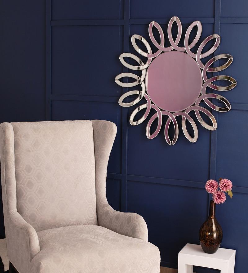 Silver Glass & MDF Sunflower Wall Mirror By Venetian Design
