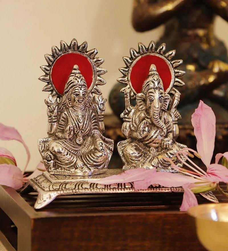 Silver Iron Laxmi-Ganesh on Throne Idol by GAC Trend