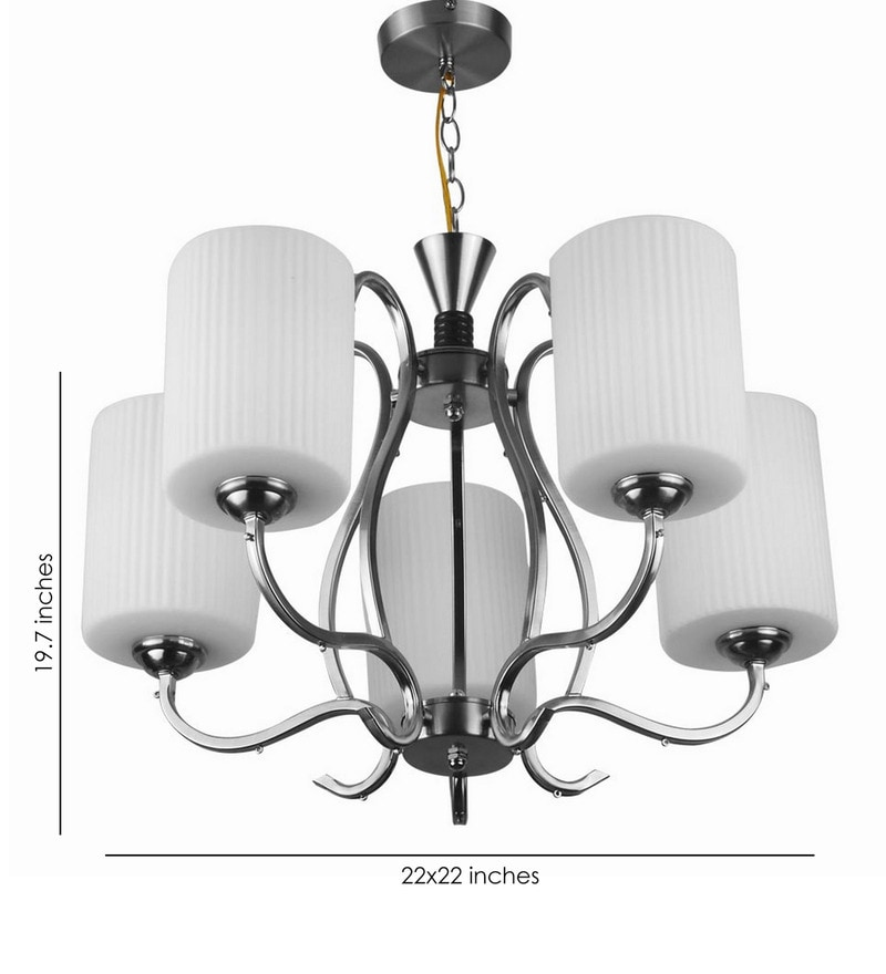 Silver Mild Steel and Glass Chandeliers by LeArc Designer Lighting