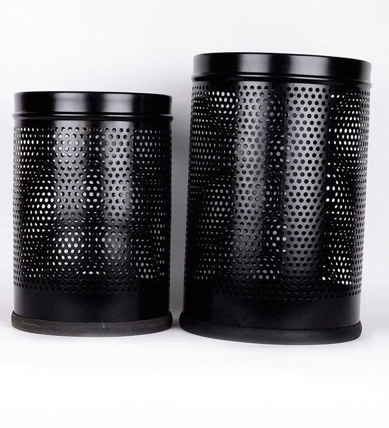Silverware Black Dustbin - Set of 2