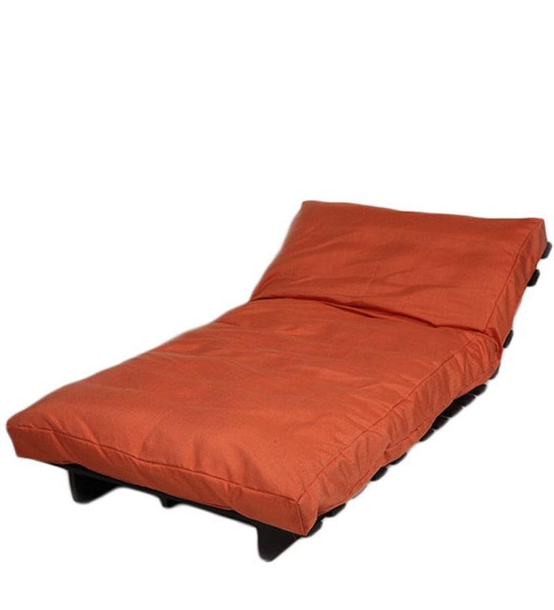 buy single futon sofa cum bed with mattress in orange colour by arra online single futons. Black Bedroom Furniture Sets. Home Design Ideas