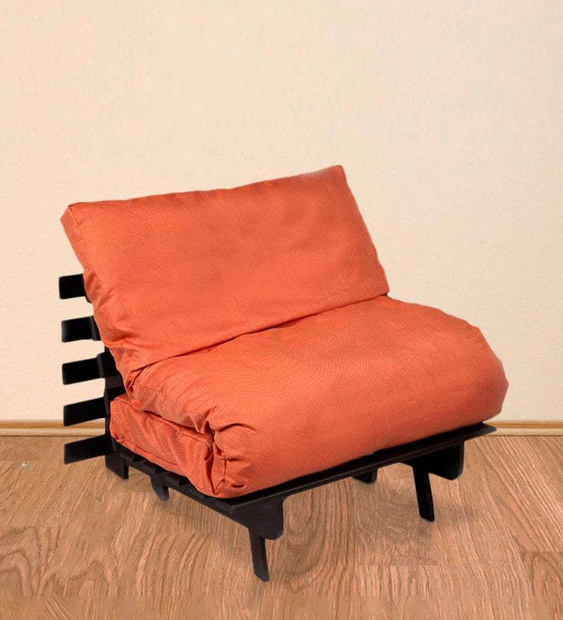 Single Futon Sofa cum Bed with Orange Mattress by ARRA