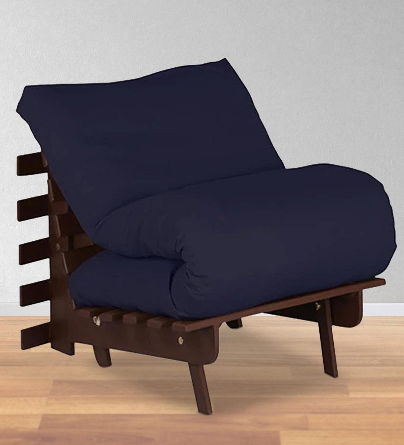 Single Futon with Mattress in Dark Blue Colour by Auspicious Home