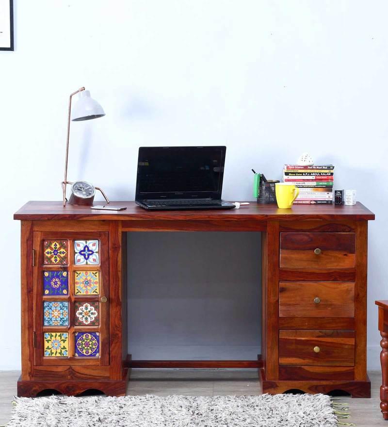 Siramika Study Table in Honey Oak finish by Mudramark