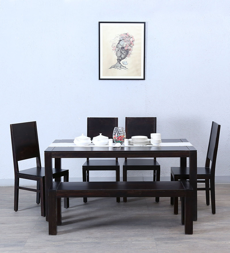 Oriel Six Seater Dining Set with Bench in Warm Chestnut Finish by Woodsworth
