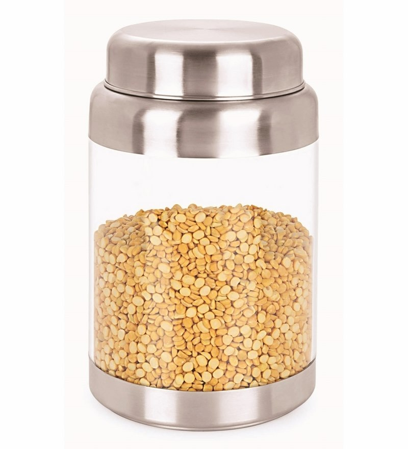 Sizzle Crystal Clear Silver Stainless Steel  2.25 L Storage Container