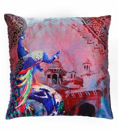 Skipper Multicolour Polyester 16 X 16 Inch Peacock Digital Printed Cushion Cover - 1594775