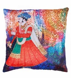 Skipper Multicolour Polyester 16 X 16 Inch Raja With Sword Digital Printed Cushion Cover