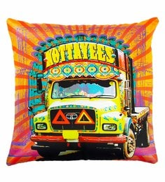 Skipper Multicolour Polyester 16 X 16 Inch Truck Digital Printed Cushion Cover