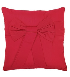 Skipper Red Cotton 16 X 16 Inch Skipper Cotton Ribbon Cushion Cover