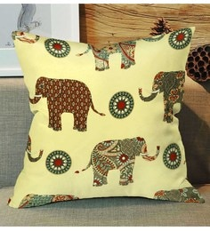 Skipper Yellow Polyester 16 X 16 Inch Elephant Digital Printed Cushion Cover