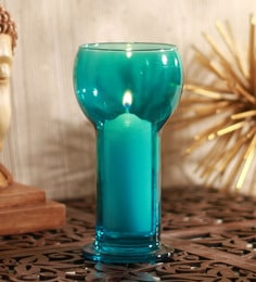 Sky Blue Glass Lucilla Candle Holder
