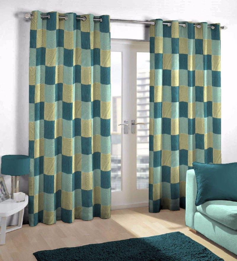 Aqua Viscose & Polyester Eyelet Door Curtain by Skipper