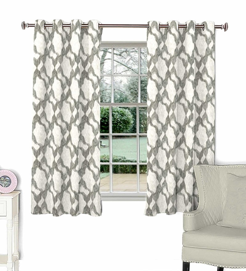 Beige Polycotton 44 x 60 Inch Contemporary Window Curtain by Skipper