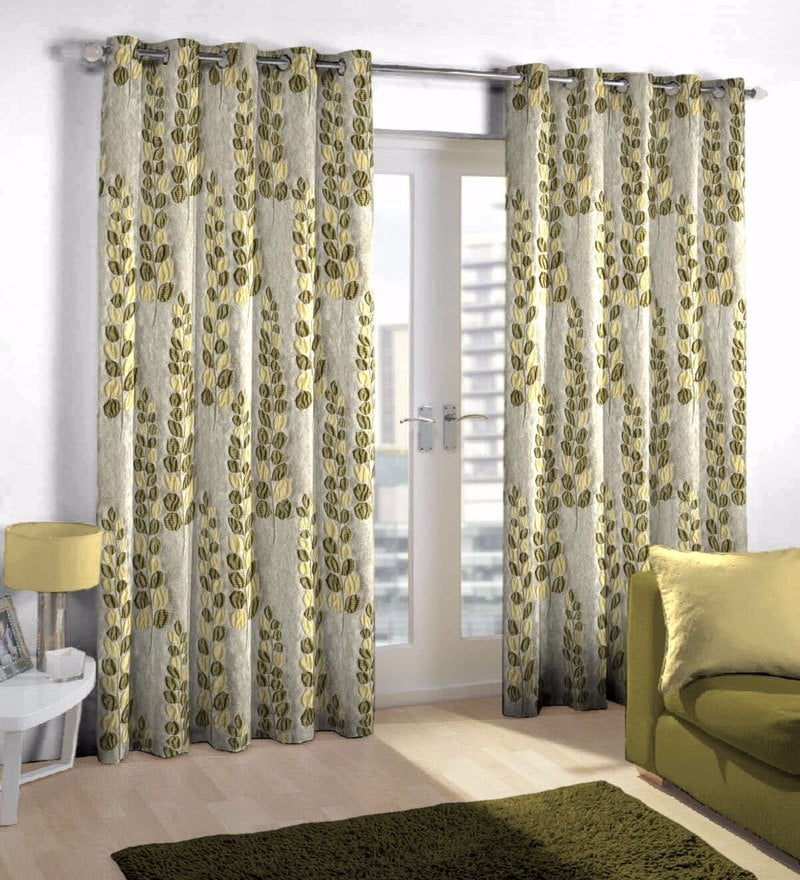 Beige Viscose & Polyester Eyelet Door Curtain by Skipper