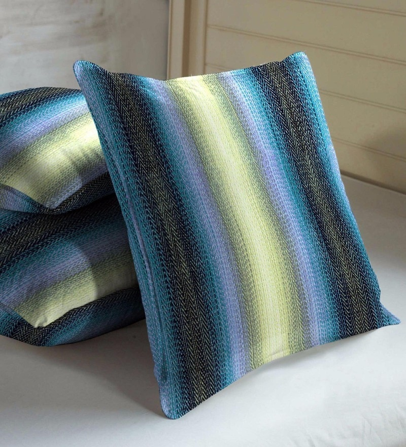 Skipper Blue & Green Viscose & Polyester 16 x 16 Inch Stripes Cushion Covers - Set of 3