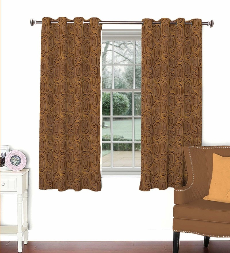 Skipper Brown Viscose & Polyester 44 x 60 Inch Eyelet Window Curtain (Model No: 088334)