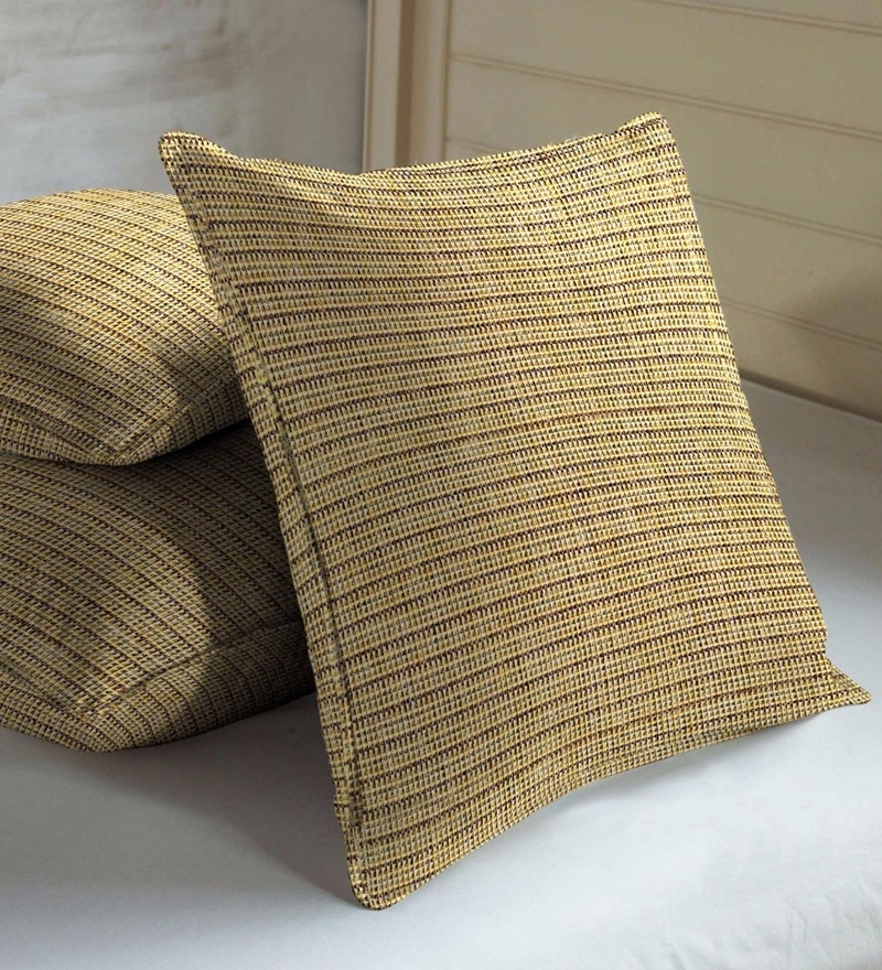 Skipper Lime Cotton & Polyester 16 x 16 Inch Textures Cushion Covers - Set of 3
