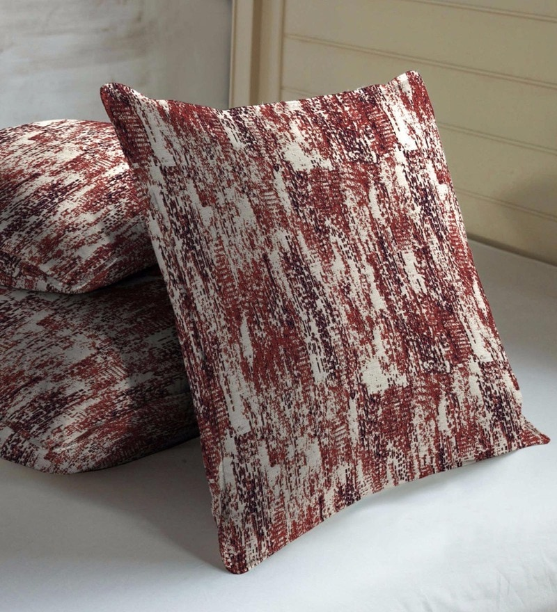 Maroon Viscose & Polyester 16 x 16 Inch Abstract Texture Cushion Covers - Set of 3 by Skipper