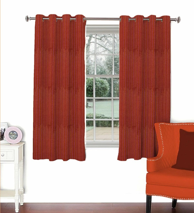 Maroon Viscose & Polyester 44 x 60 Inch Eyelet Window Curtain (Model No: 093092) by Skipper