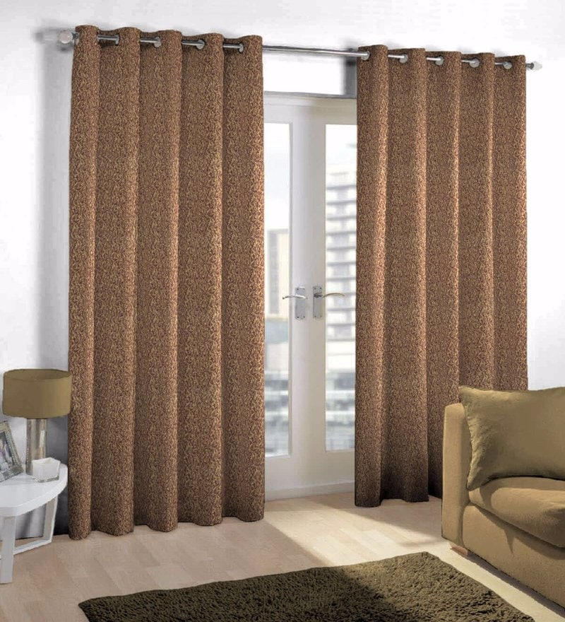 Pink Viscose & Polyester Eyelet Door Curtain by Skipper