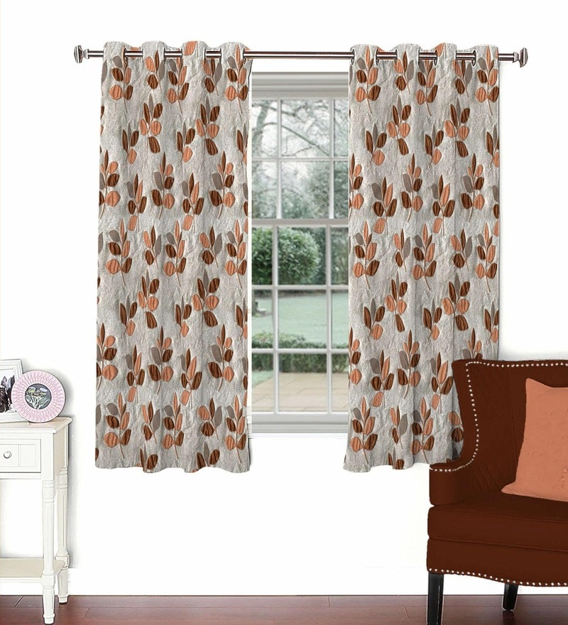 Skipper Rust Viscose & Polyester 44 x 60 Inch Eyelet Window Curtain (Model No: 090738)